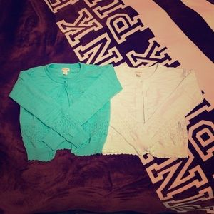 Girls Cat & Jack cardigans mint and white m 7/8